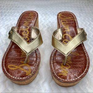 Anthro | Sam Edelman 'Romy' Gold Wedge Sandal